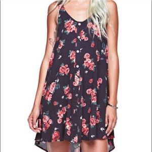 Gypsy Warrior Mini Dress Floral Button Blk Pink XS